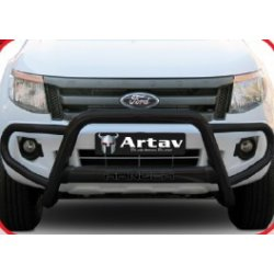 Ford Ranger T6 Black Stainless steel tri bumper with oval cross member